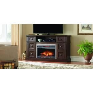 Home Decorators Collection Bellevue Park 59 in. Media Console Infrared Electric Fireplace in Dark Brown Cherry Finish WSFP59HD-14 at The Home Depot - Mobile