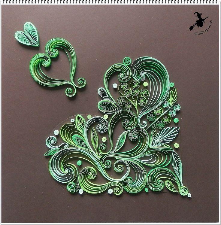Fantázia szív zöldben.
