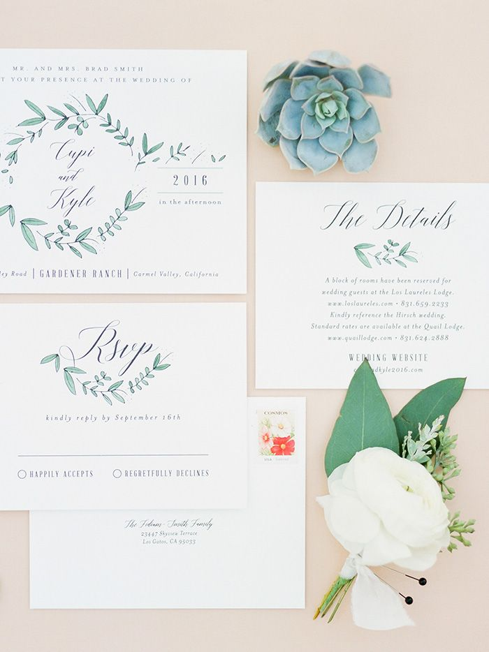 Greenery and Succulent Wedding Invitations
