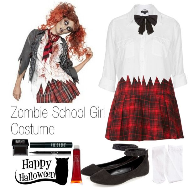 #LastMinuteDIYCostume: Zombie School Girl Costume by niall-is-mine on Polyvore featuring polyvore fashion style Topshop Forever 21 H&M Yves Saint Laurent Make Lord & Berry Stila