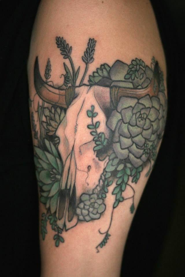 Bull Skull. Desert. Tattoo.