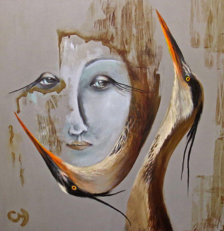 Glorfindel par Christyne Proulx/ ©2016/ Acrylique sur bois /24X24 / figurative and contemporary art/ acrylique, art painting, Street Art (Urban Art), Canvas, Women, Portraits, femme, oiseaux, héron, street art, patchwork, peinture, contemporain, abstrait, tableau street art, expressionnisme, surréaliste.