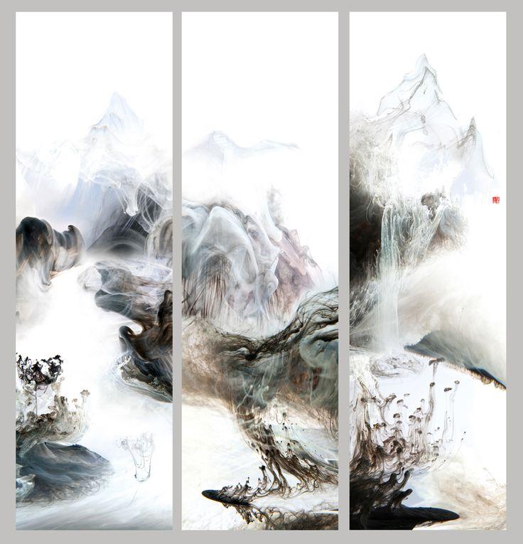"""""""空山新雨后""""    Lu Jun Digital Ink   Link:  http://lujun.artron.net"""