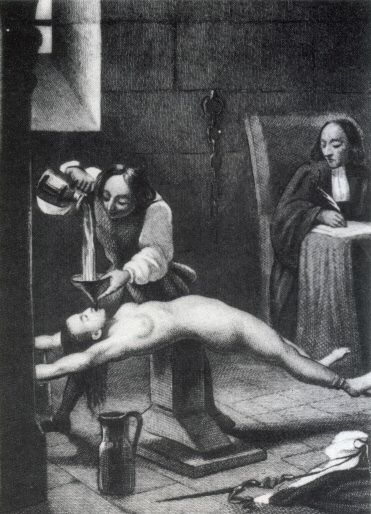 The Roman Catholic Inquisitions: Water Torture. The victim's nostrils were pinched shut, and eight quarts of fluid were poured down the victim's throat through a funnel. Other techniques included forcing a cloth down the throat, while pouring water, which made a swallowing reflex pushing it further down into the stomach producing all the agonies of suffocation by drowning until the victim lost consciousness. Instead of water, the torture was sometimes conducted with boiling water or vinegar.