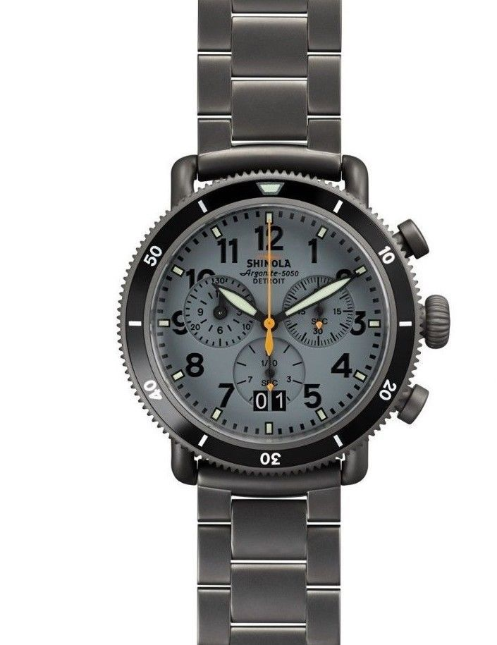 New 1 125 shinola argonite 5050 runwell sport chrono stainless steel 42mm watch steel for Argonite watches