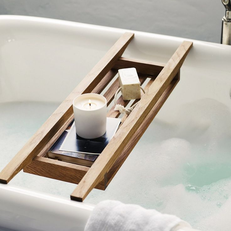 Run a bath (Wooden Bath Tidy | The White Company)