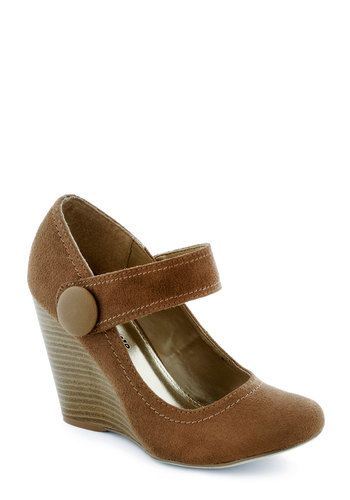 Coffee Study Break Wedge, #ModCloth A Mary Jane wedge in brown faux suede for only $39.99? Yes, yes, and more yes!