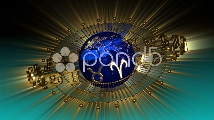 Golden Astrology Zodiac Signs and Planet Earth - Stock Footage | by maraexsoft