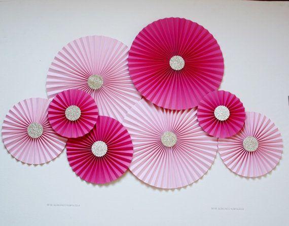Rosetas de papel-molinetes de papel  papel Fans  rosa y el