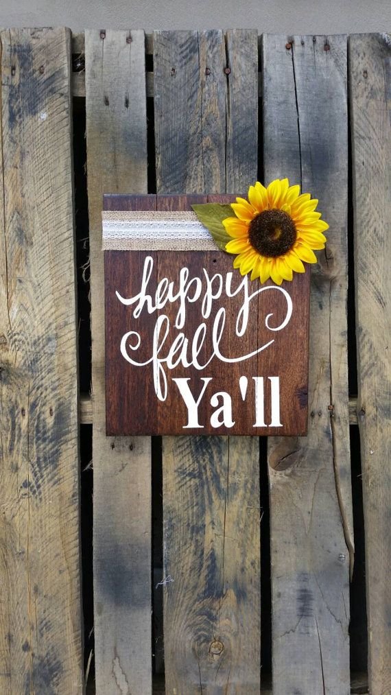 Happy Fall Ya'll rustic pallet wood signs Shabby by MadeByFreckles