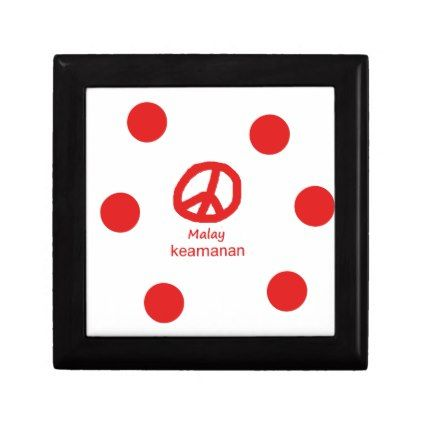 #Malay Language And Peace Symbol Design Jewelry Box - #country gifts style diy gift ideas