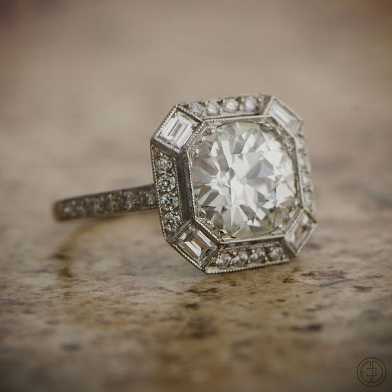 Estate Engagement Ring - 2.40ct Old European Cut Diamond in Platinum Setting - Estate Engagement Ring