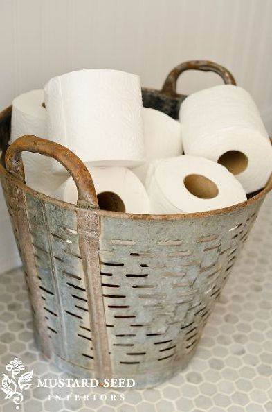 farmhouse bathrooms, bathroom ideas, diy, flooring, home decor, how to, repurposing upcycling, Miss Mustard Seed shares a vintage olive basket for toilet tissue display