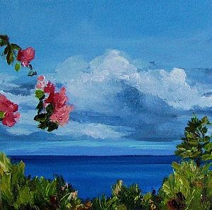 """View From Aloha Lani by Coral May Barclay Oil ~ 6"""" x 6"""""""
