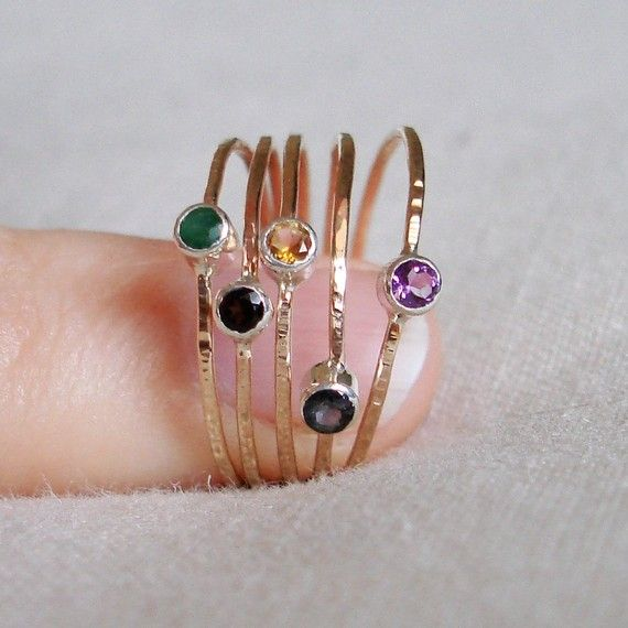 Choose Stones for Five Threads of Gold and Silver - Tiny Stack Rings with Sterling Silver Set Faceted Stones - Delicate Jewelry