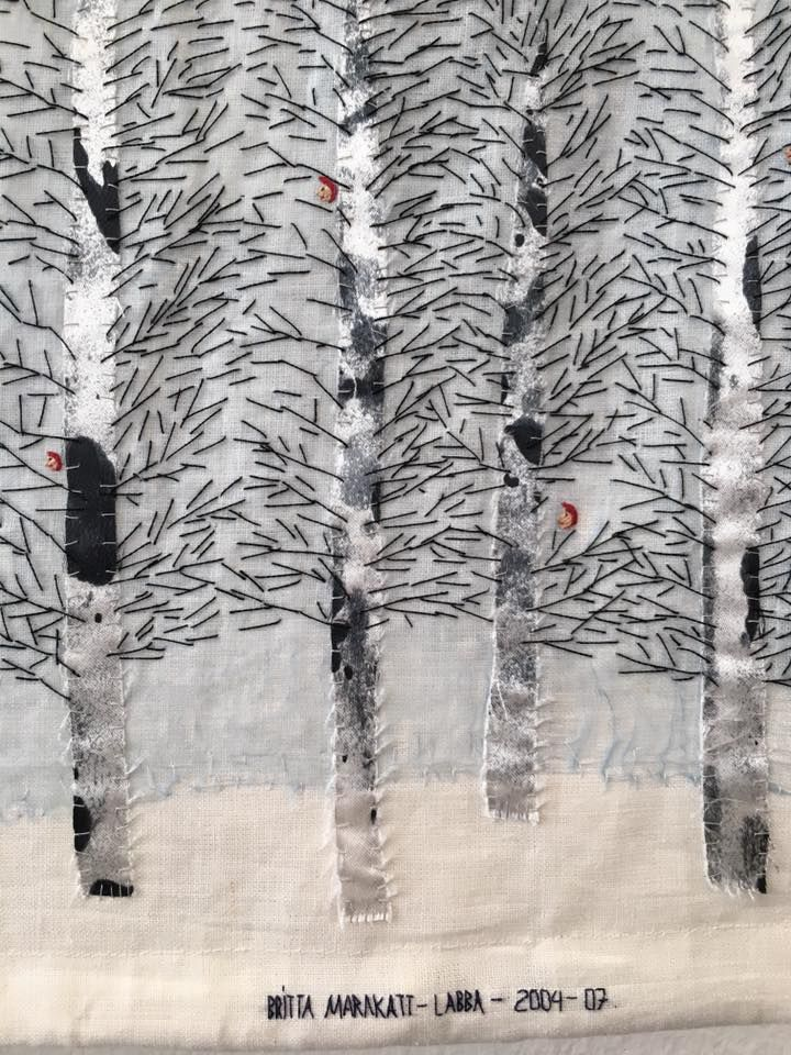 Britta Marakatt-Labba creates subtle, miniature embroidered worlds containing scenes from everyday life, political refl...