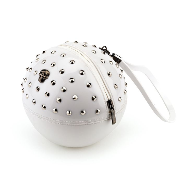 """""""Rock'n'Ball"""" sphere handbag, studded in solid colour bright Pvc"""