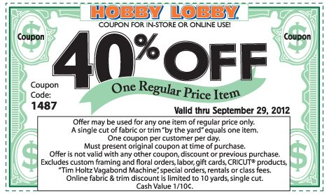 40% off a single item at Hobby Lobby, or online via checkout promo 2764 coupon via The Coupons App