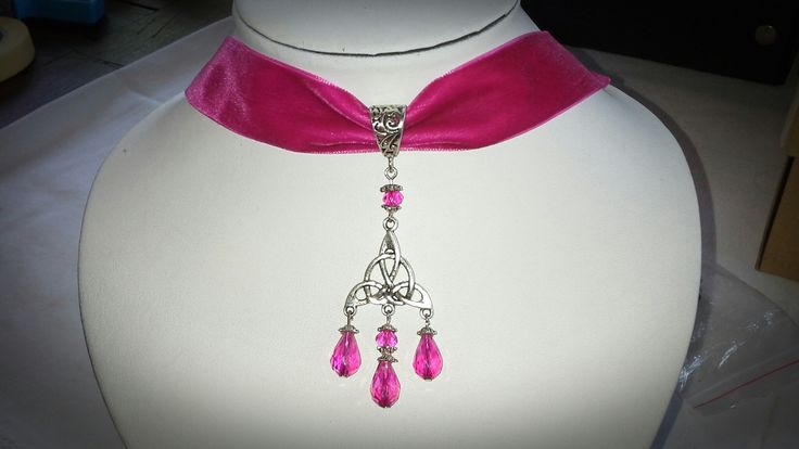 New made by Grievious-Pink Fairy Velvet Choker with Antique Silver Celtic Knot and Crystal Glass Beads