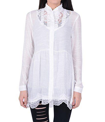 Zeagoo Damen Vintage Spitze Lange Tunika Top Bluse