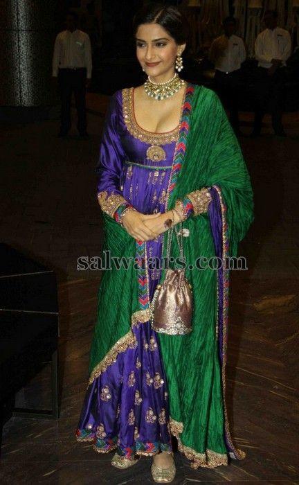 Sonam Kapoor Purple Salwar - Indian Dresses