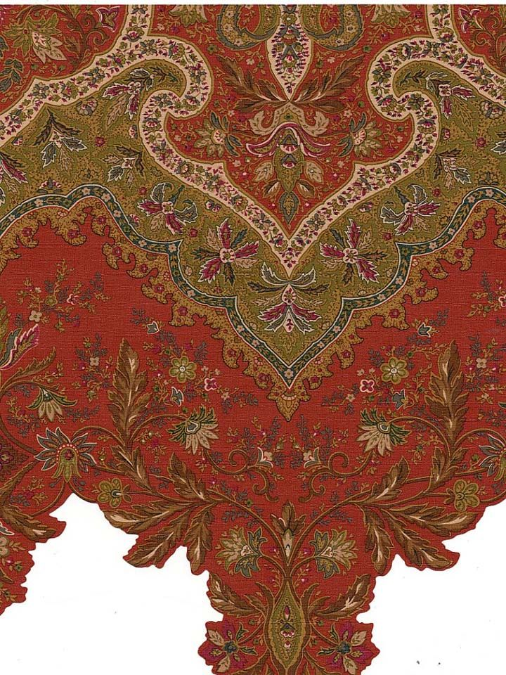 GF071131D - Paisley Wallpaper Border | RAYMOND WAITES GLOBAL FUSION | AmericanBlinds.com | Red, Olive Green, Gold, Khaki, Brown & Dark Green | $26.21/five yard bolt