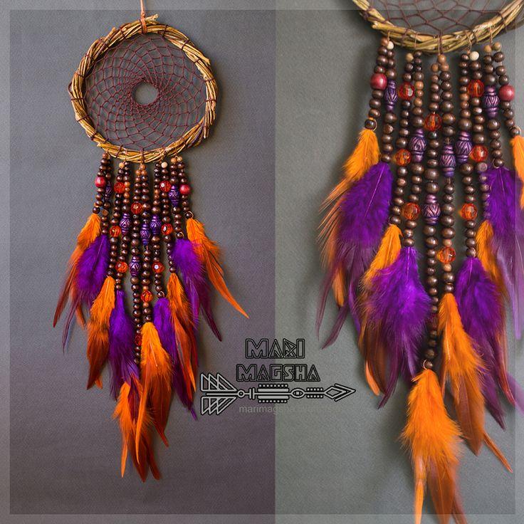 """Купить Ловец снов """"Овако"""" - темно-фиолетовый, оранжевый, ловец снов, ловец сновидений"""