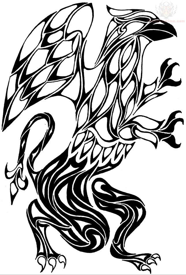 Griffin Tribal Tattoo Design