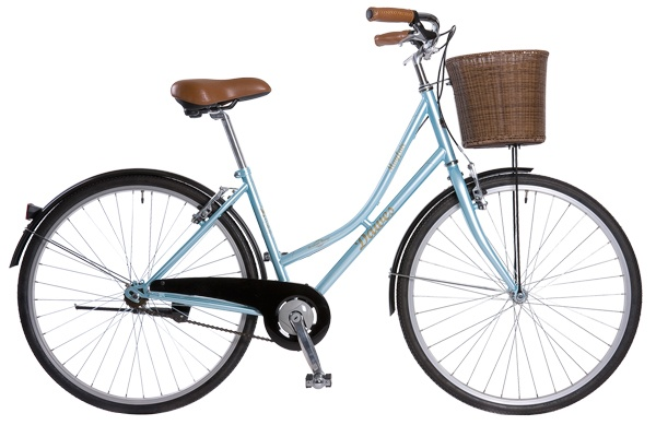 Pendleton Bikes, brown leather saddle and handle grips and a wicker basket.
