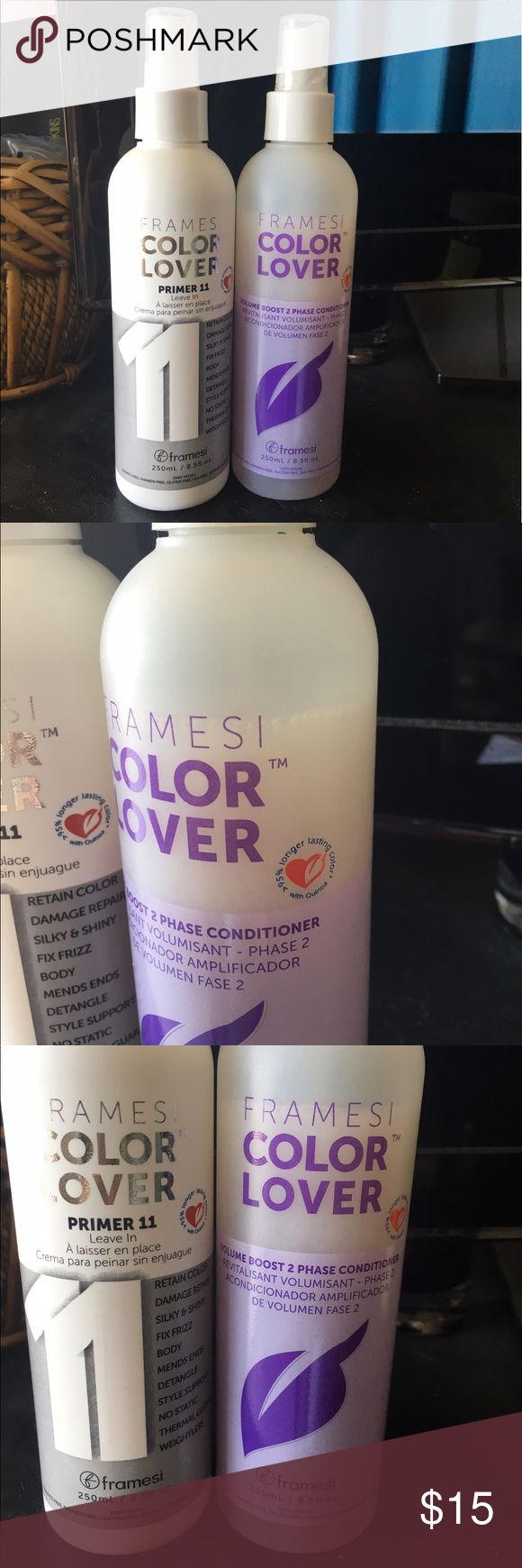 Framesi color lover primer and conditioner all white bottle is a spray leave in unused and brand new, purchased from a local hair salon for $16 The clearish bottle is a spray leave in CONDITIONER  that is used after the white bottle only used a little as u can see purchased from a local hair salon for $19 Both can be used on any type of hair, great for colored/dyed hair because this stuff TRUELY keeps the color in there WAY LONGER I purchased from a fellow seller on here recently but ended…
