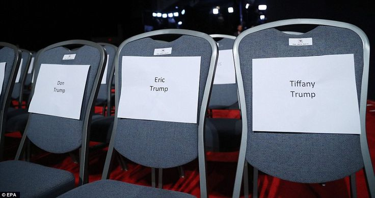Along with Melania and Ivanka, Donald Jr, Eric Trump and Tiffany Trump were all scheduled to sit front row