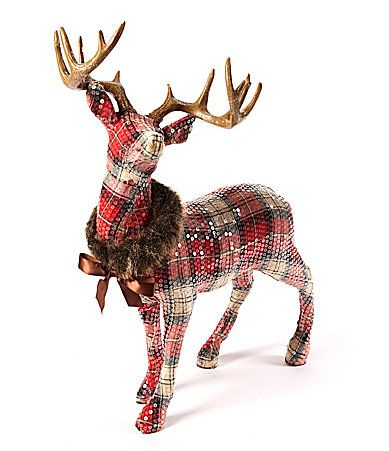Trimsetter Plaid Tidings Standing Deer Figurine #Dillards