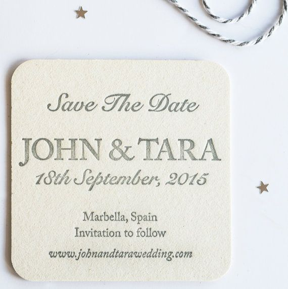 Save The Date Beermat Wedding Invitations Set of by Rubybluepress