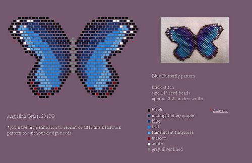 beaded blue morpho butterfly pattern (pendant/pin) by Angielina Grass, 2012© | Flickr - Photo Sharing!