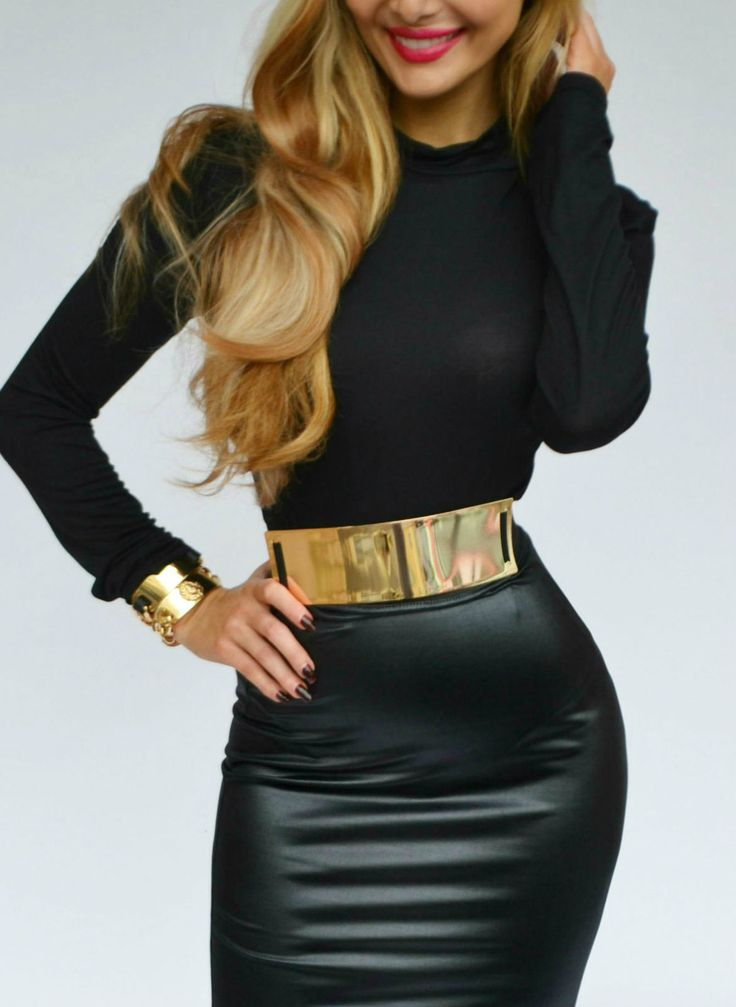 Fall 2013 Fashion Trend Black And Gold Cute Tight Little Black Dress With Thick Gold Metal Belt Curls And Gold Accessories