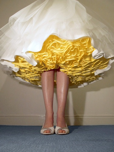 CANDY ANTHONY - 50's Tea Length Yellow Petticoat & Silk Sash Size 8 | eBay