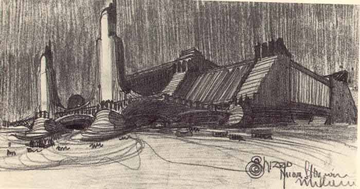 Antonio Sant 'Elia in 1912 makes some drawings for the facade of the new Central Station in Milan