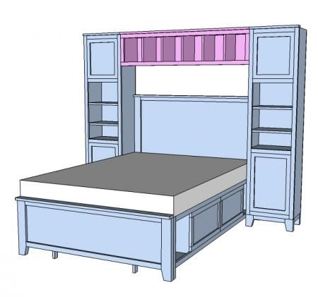 I want to make this!  DIY Furniture Plan from Ana-White.com  The hutch for the Hailey Storage Bed Collection.  Plans show both full and twin sizes.  Please note that this hutch is designed for a very tight fit around the bed, and you should measure your headboard and bed width before building to ensure enough space around the bed.