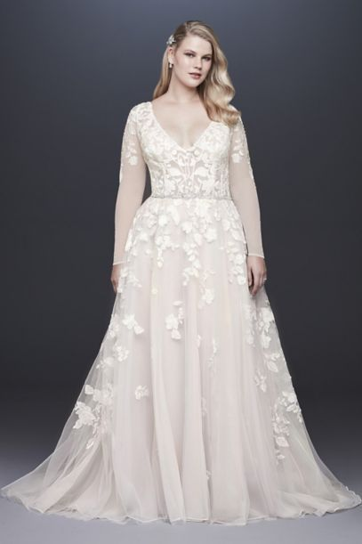 097c20cfdb Illusion Sleeve Plunging Plus Size Wedding Dress 9SWG820 Long Wedding  Dresses, Unique Wedding Gowns,