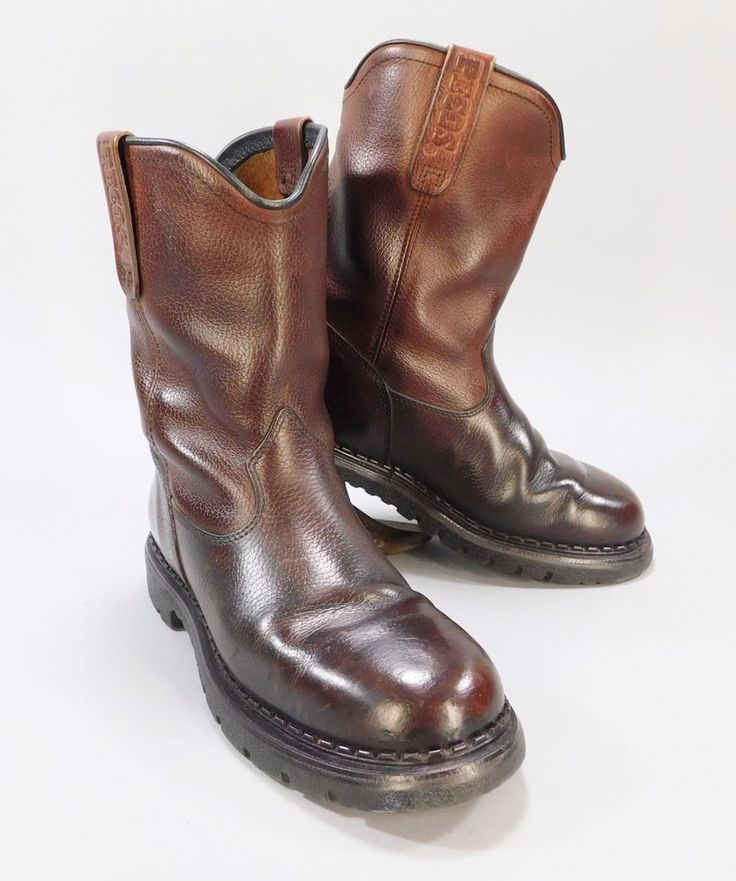 Red Wing Pecos Brown Leather Pull On Motorcycle / Work Boots, Size 7.5 Mens, Mad #RedWingShoes #Motorcycle