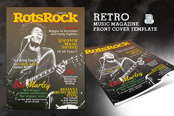 Retro Music Magazine Front Cover Template on Behance