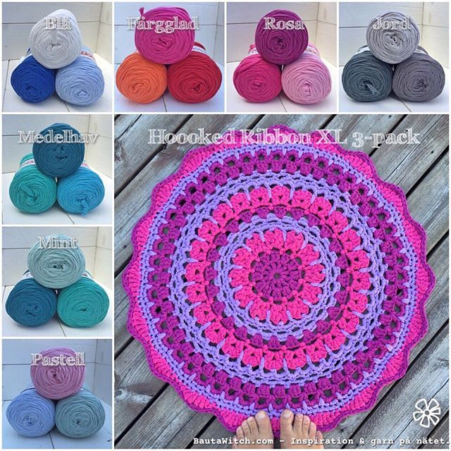 Now the pattern on my carpet - Flower Terma Dala blog! BautaWitch.se And many delightful 3-pack of Hoooked Ribbon XL crocheting it with in the shop! BautaWitch.com #virka #virkat #mandala #matta #bautawitch # pattern #crochet #ribbonxl #garn #webbshop