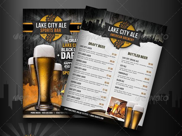 SportsBarMenuFlyer Dise o Pinterest – Bar Flyer Template