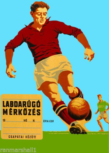 Hungary-Hungarian-Budapest-Soccer-Football-Vintage-Travel-Advertisement-Poster