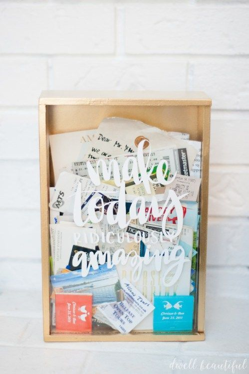 Make an awesome memory box to store all of your ticket stubs and memorabilia! Don't throw away your collection of tickets - keep them safe and turn them into an art display using a shadowbox in just minutes!