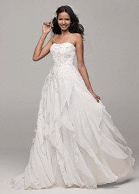 This crinkle chiffonwedding dresswith lace appliques and ruffles is both elegant and fun!  Strapless A-line crinkle chiffon bodice features stunningly delicate lace applique detail.  Eye-catching ruffle skirt adds dimension and beautiful movement.  Sizes 0-14. Sweep train.  Soft White available in stores and online. White available for Special Order in stores.  Petite: Style 7WG3647  Size 0P- 14P. Special order only. Woman: Style 9WG3647 Sizes 16W- 26W.  Fully lined. Back ...