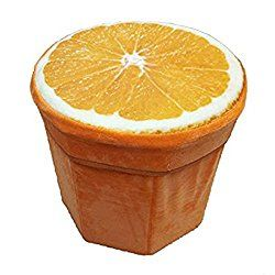 "Cute 3D Fruit Folding Storage Ottoman Cube Foot Stool Seat Footrest Foldable Storage Box (11.8""x11.4"", Orange)"