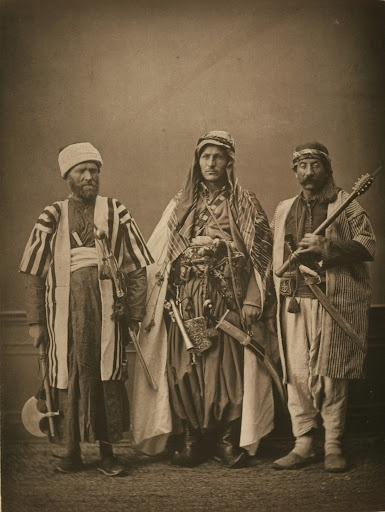 1873 photogravure. (1) Christian mountain dweller of Zaḥlah (2) Christian mountain dweller of Zgharta (3) Druze of Lebanon. from the province of Syria, Ottoman Empire