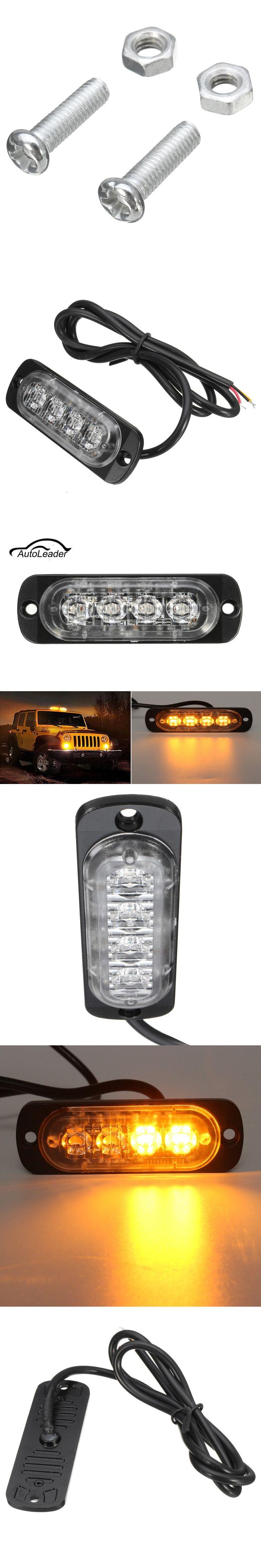 4 LED Car Truck Flash Emergency Beacon Warning Light Bar Hazard Strobe Amber