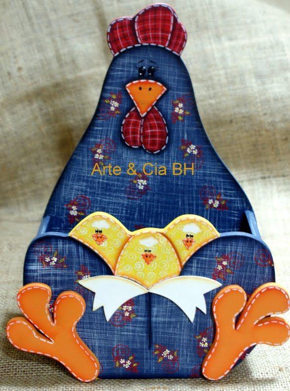 Caja gallina con pollitos